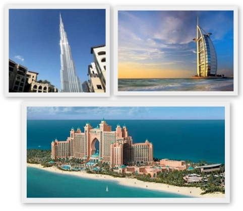 Famous Dubai landmarks include the Burj Khalifa tower, the stunning Burj Al-Arab hotel where guests arrive by helicopter, and Atlantis the Palm, built into the sea on reclaimed land