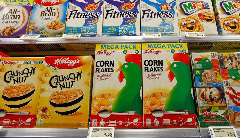 Kellogg's corn flakes and other products of U.S. Kellogg Company are offered at a supermarket of Swiss retail group Coop in Zumikon, Switzerland