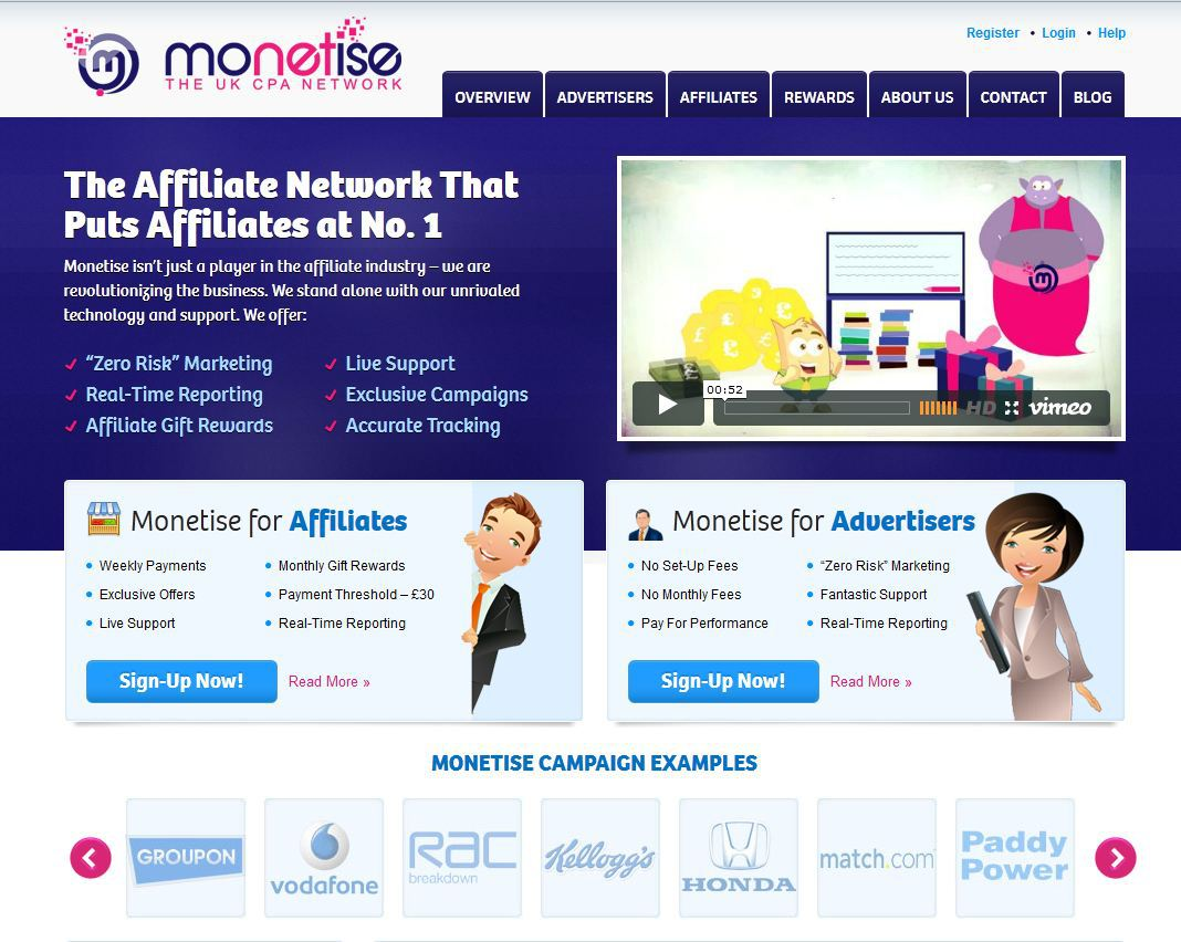 Home page of Monetise UK CPA affiliate network