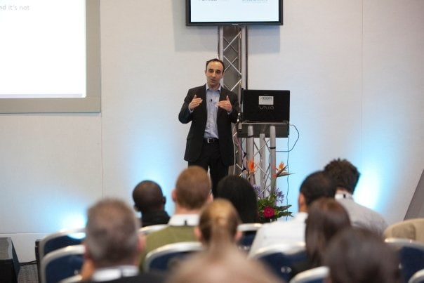 Nadeem Azam giving a presentation to entrepreneurs at London's Excel Centre