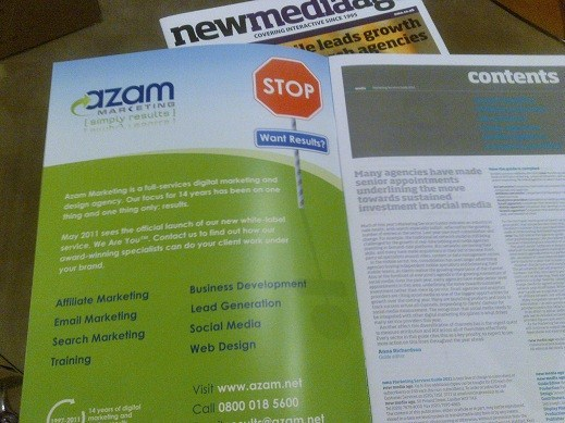 Our advert in last week's NMA (New Media Age) magazine's Marketing Services Guide