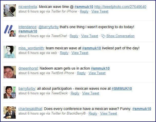 Twitter comments about the Mexican Wave coming to Social Media Marketing in Nadeem Azam's talk
