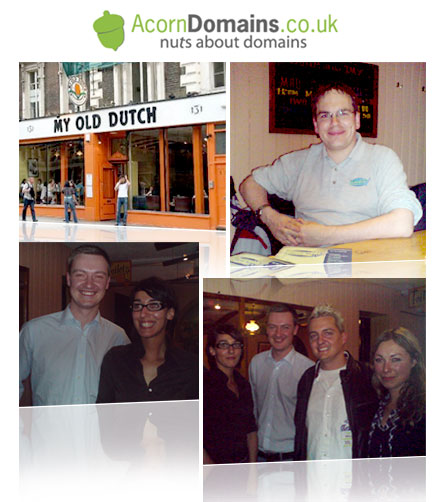 Acorn Domains London Gathering. Top Left: restaurant in Holborn. Top Right: Famous domainer Edwin. Bottom Left: representatives from Sedo. Bottom Right: Murray Newlands, Cleverat Director, with three representatives from Sedo UK and Germany