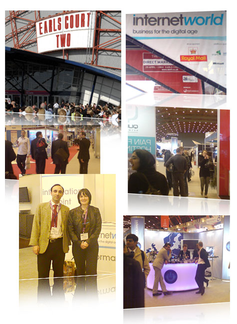 Internet World 2008 in London's Earl's Court. Nadeem Azam and Sinead Hernen from Azam Marketing are shown on the bottom left.