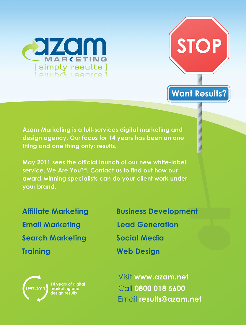 Azam's advert in the inside front cover of the NMA's Marketing Services Guide